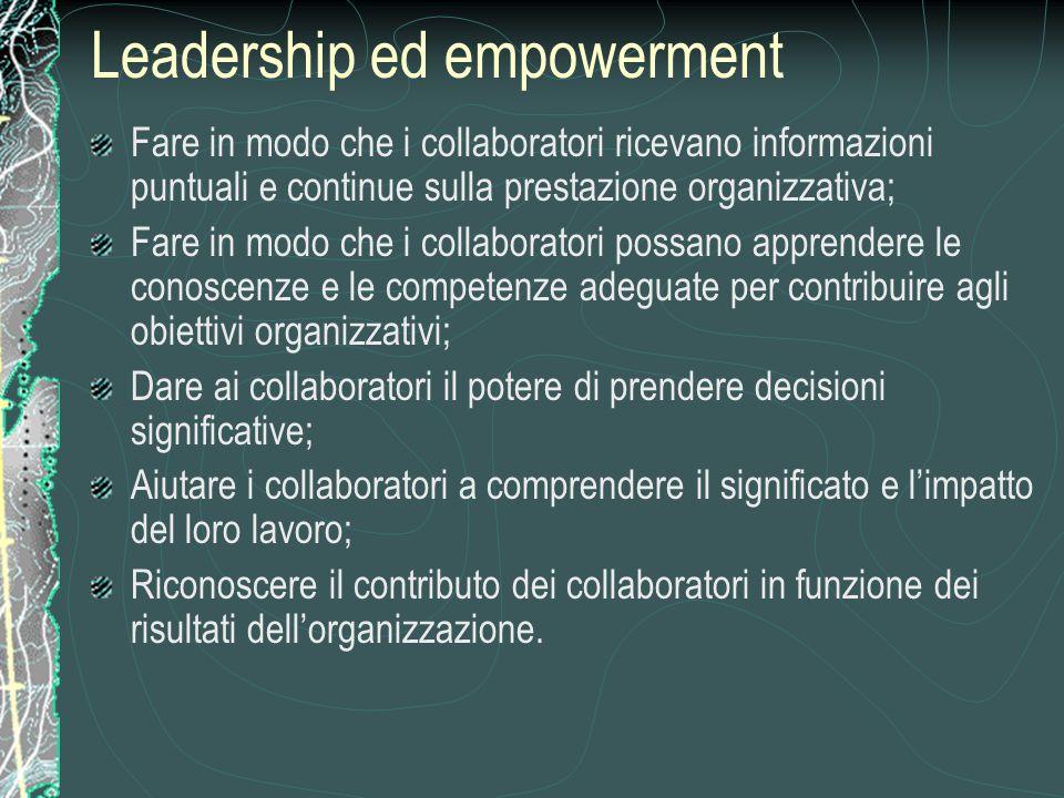 Leadership ed empowerment Fare in modo che i collaboratori ricevano informazioni puntuali e continue sulla prestazione organizzativa; Fare in modo che i collaboratori possano apprendere le conoscenze e le competenze adeguate per contribuire agli obiettivi organizzativi; Dare ai collaboratori il potere di prendere decisioni significative; Aiutare i collaboratori a comprendere il significato e l'impatto del loro lavoro; Riconoscere il contributo dei collaboratori in funzione dei risultati dell'organizzazione.