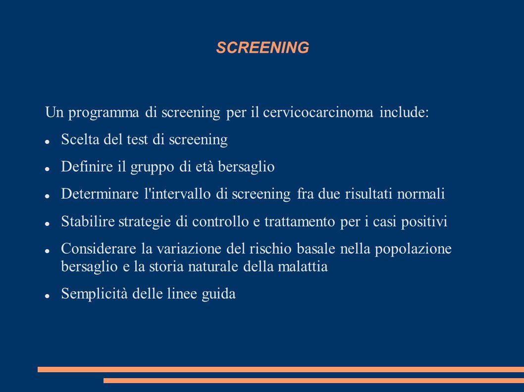 SCREENING Un programma di screening per il cervicocarcinoma include: Scelta del test di screening Definire il gruppo di età bersaglio Determinare l'in