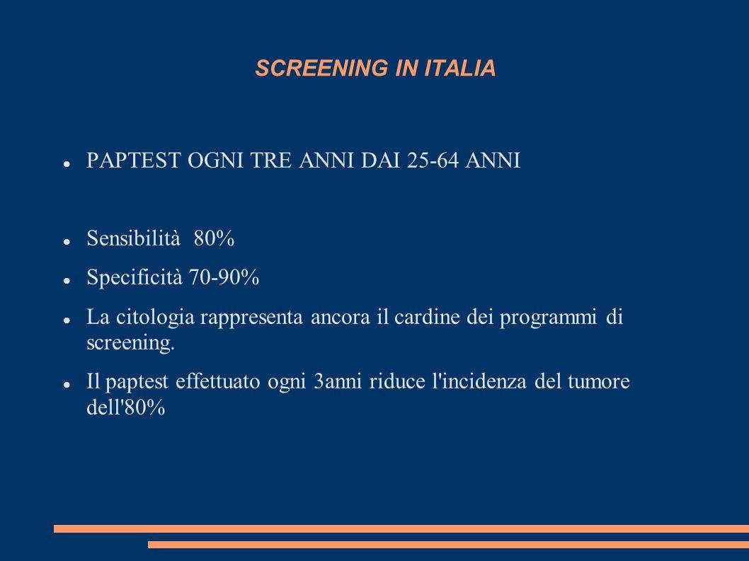 SCREENING IN ITALIA PAPTEST OGNI TRE ANNI DAI 25-64 ANNI Sensibilità 80% Specificità 70-90% La citologia rappresenta ancora il cardine dei programmi d