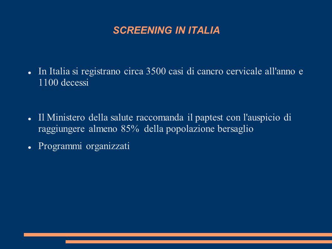 SCREENING IN ITALIA In Italia si registrano circa 3500 casi di cancro cervicale all anno e 1100 decessi Il Ministero della salute raccomanda il paptest con l auspicio di raggiungere almeno 85% della popolazione bersaglio Programmi organizzati