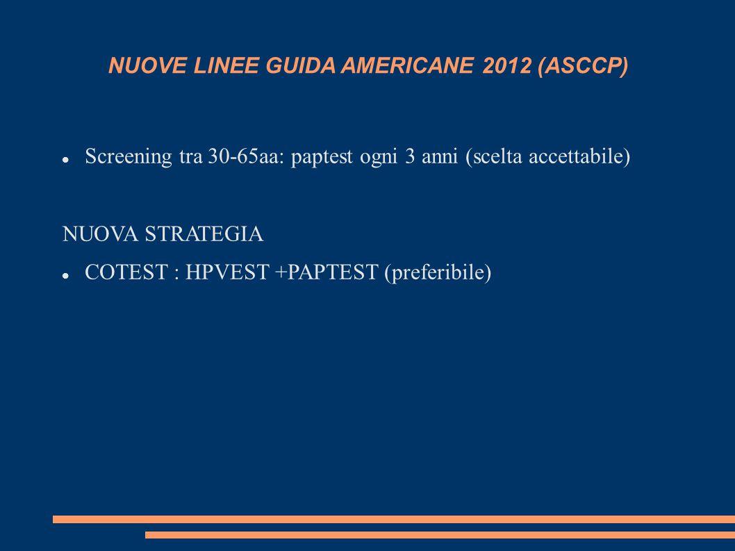 NUOVE LINEE GUIDA AMERICANE 2012 (ASCCP) Screening tra 30-65aa: paptest ogni 3 anni (scelta accettabile) NUOVA STRATEGIA COTEST : HPVEST +PAPTEST (preferibile)