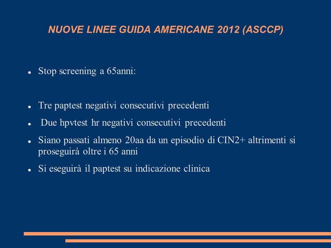 NUOVE LINEE GUIDA AMERICANE 2012 (ASCCP) Stop screening a 65anni: Tre paptest negativi consecutivi precedenti Due hpvtest hr negativi consecutivi pre