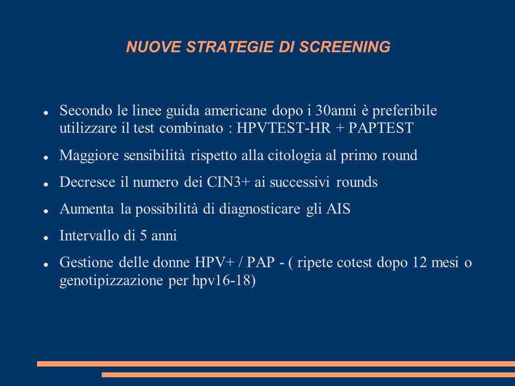 NUOVE STRATEGIE DI SCREENING Secondo le linee guida americane dopo i 30anni è preferibile utilizzare il test combinato : HPVTEST-HR + PAPTEST Maggiore sensibilità rispetto alla citologia al primo round Decresce il numero dei CIN3+ ai successivi rounds Aumenta la possibilità di diagnosticare gli AIS Intervallo di 5 anni Gestione delle donne HPV+ / PAP - ( ripete cotest dopo 12 mesi o genotipizzazione per hpv16-18)