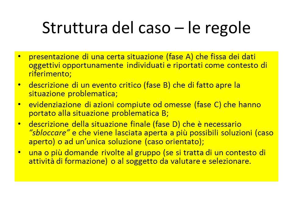 Struttura del caso – le regole presentazione di una certa situazione (fase A) che fissa dei dati oggettivi opportunamente individuati e riportati come
