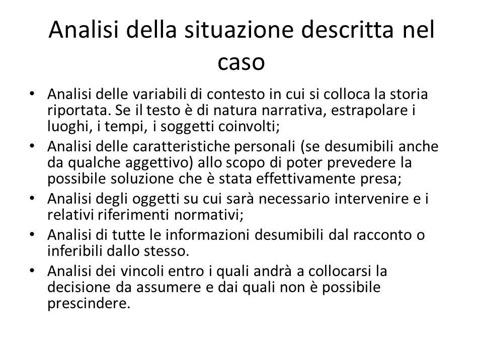 Analisi della situazione descritta nel caso Analisi delle variabili di contesto in cui si colloca la storia riportata. Se il testo è di natura narrati