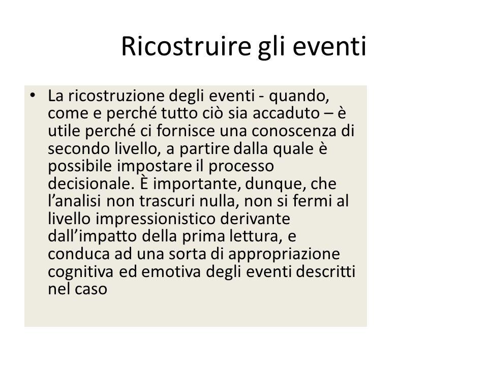 Ricostruire gli eventi La ricostruzione degli eventi - quando, come e perché tutto ciò sia accaduto – è utile perché ci fornisce una conoscenza di sec