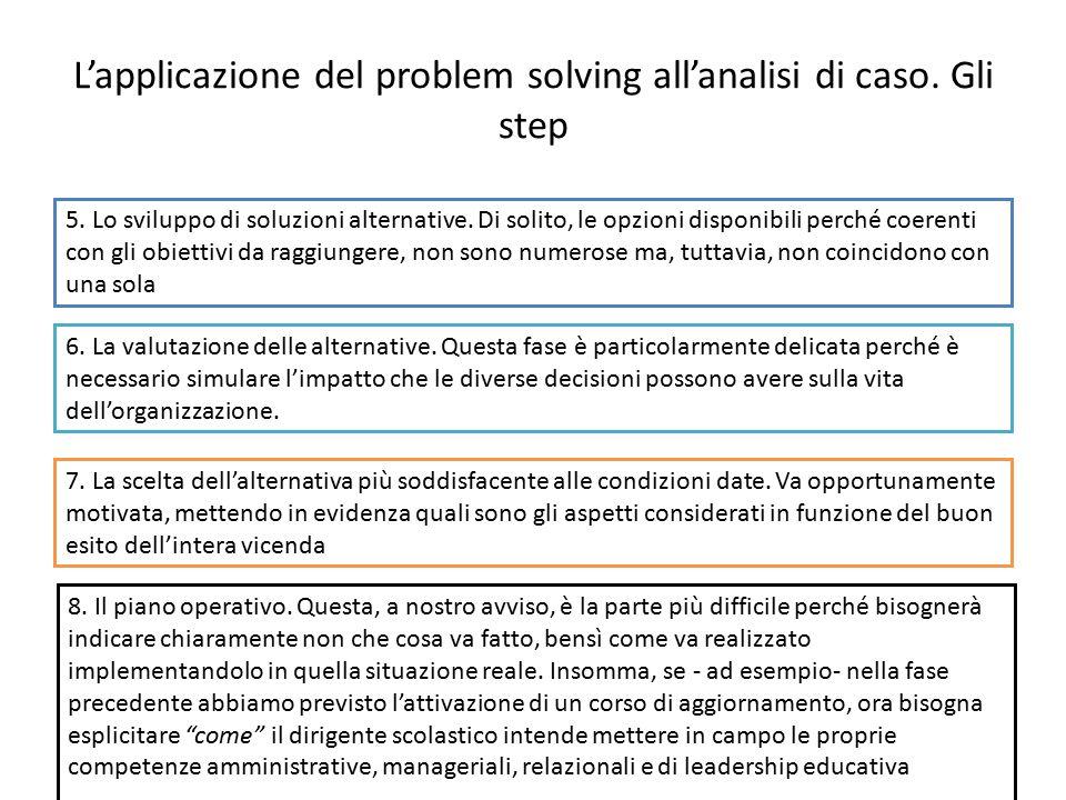 L'applicazione del problem solving all'analisi di caso. Gli step 5. Lo sviluppo di soluzioni alternative. Di solito, le opzioni disponibili perché coe
