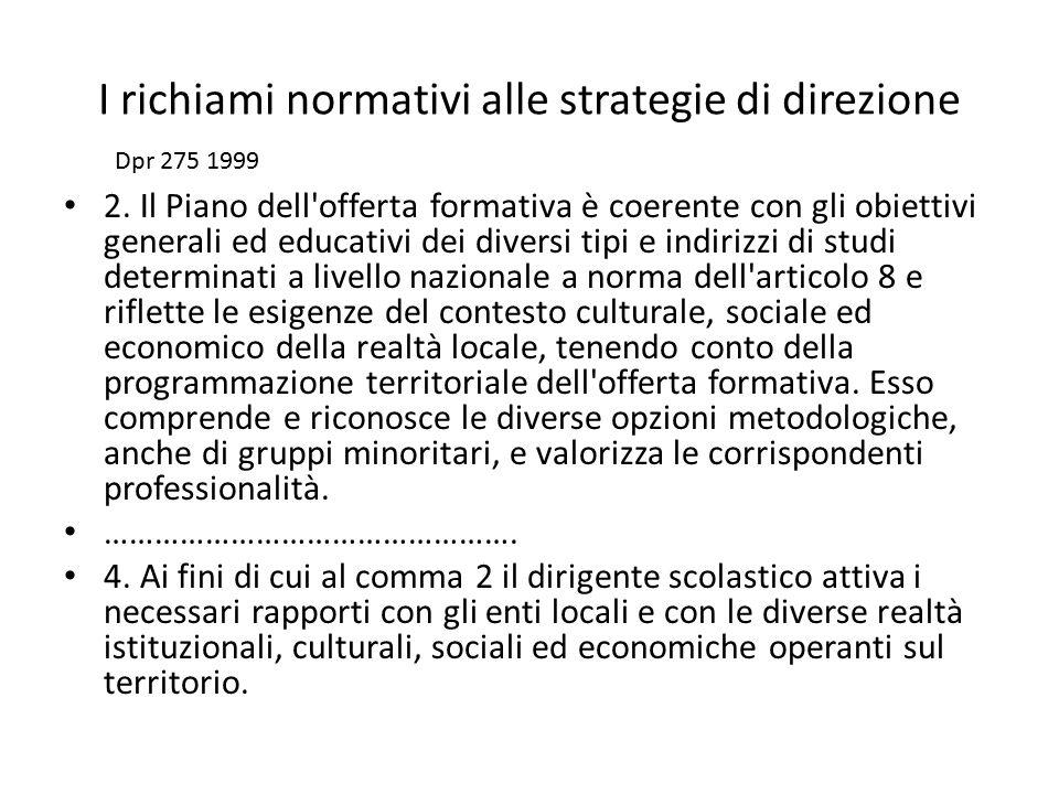 I richiami normativi alle strategie di direzione 2. Il Piano dell'offerta formativa è coerente con gli obiettivi generali ed educativi dei diversi tip