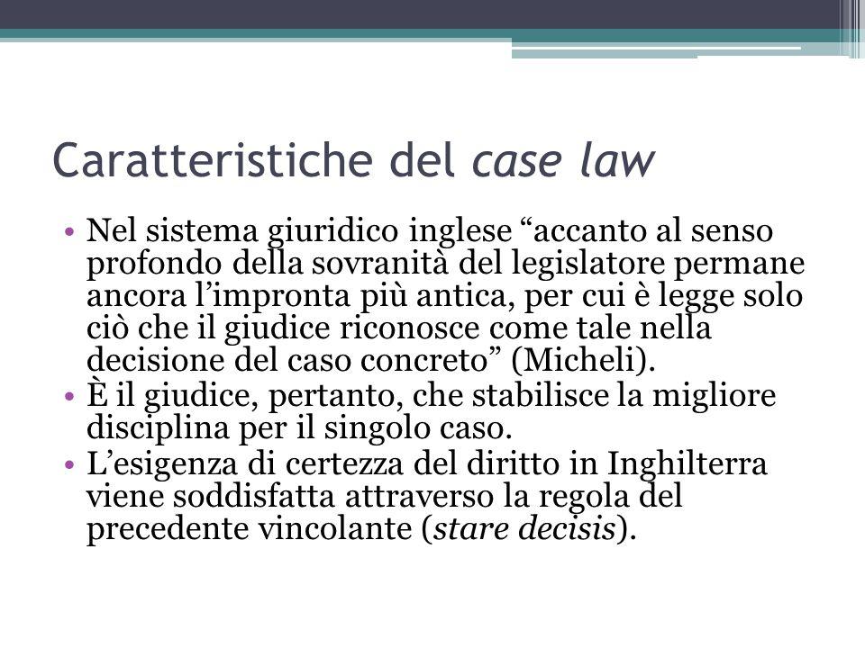 Caratteristiche del case law Nel sistema giuridico inglese accanto al senso profondo della sovranità del legislatore permane ancora l'impronta più antica, per cui è legge solo ciò che il giudice riconosce come tale nella decisione del caso concreto (Micheli).