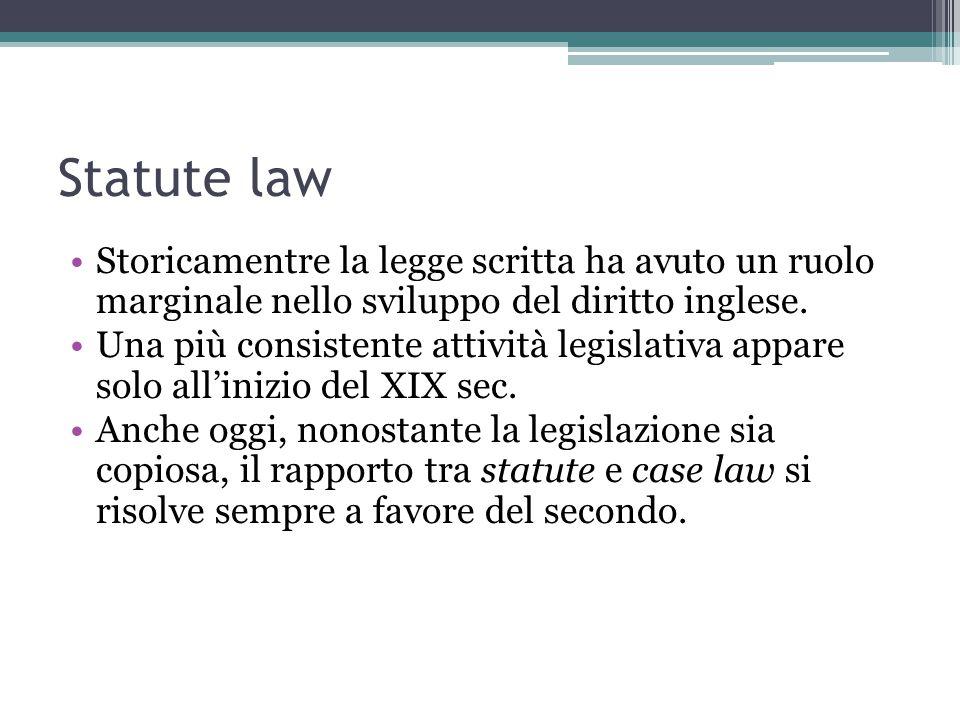 Statute law Storicamentre la legge scritta ha avuto un ruolo marginale nello sviluppo del diritto inglese.
