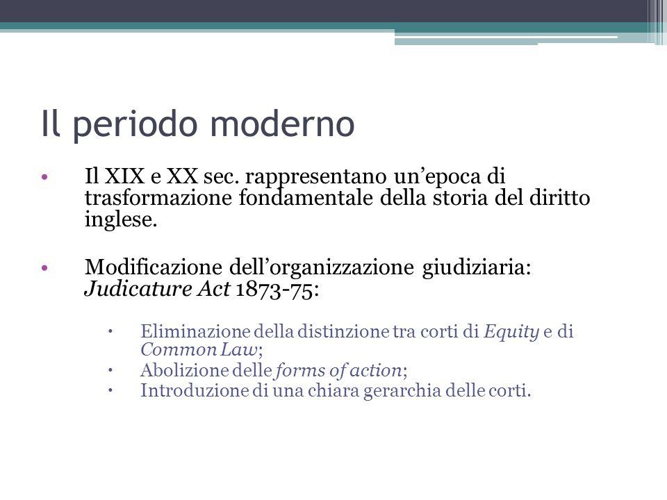 Il periodo moderno Il XIX e XX sec.