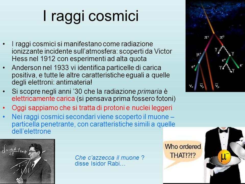 I raggi cosmici I raggi cosmici si manifestano come radiazione ionizzante incidente sull'atmosfera: scoperti da Victor Hess nel 1912 con esperimenti ad alta quota Anderson nel 1933 vi identifica particelle di carica positiva, e tutte le altre caratteristiche eguali a quelle degli elettroni: antimateria.