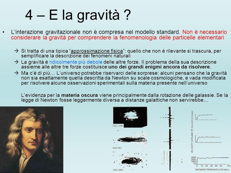 4 – E la gravità .L'interazione gravitazionale non è compresa nel modello standard.