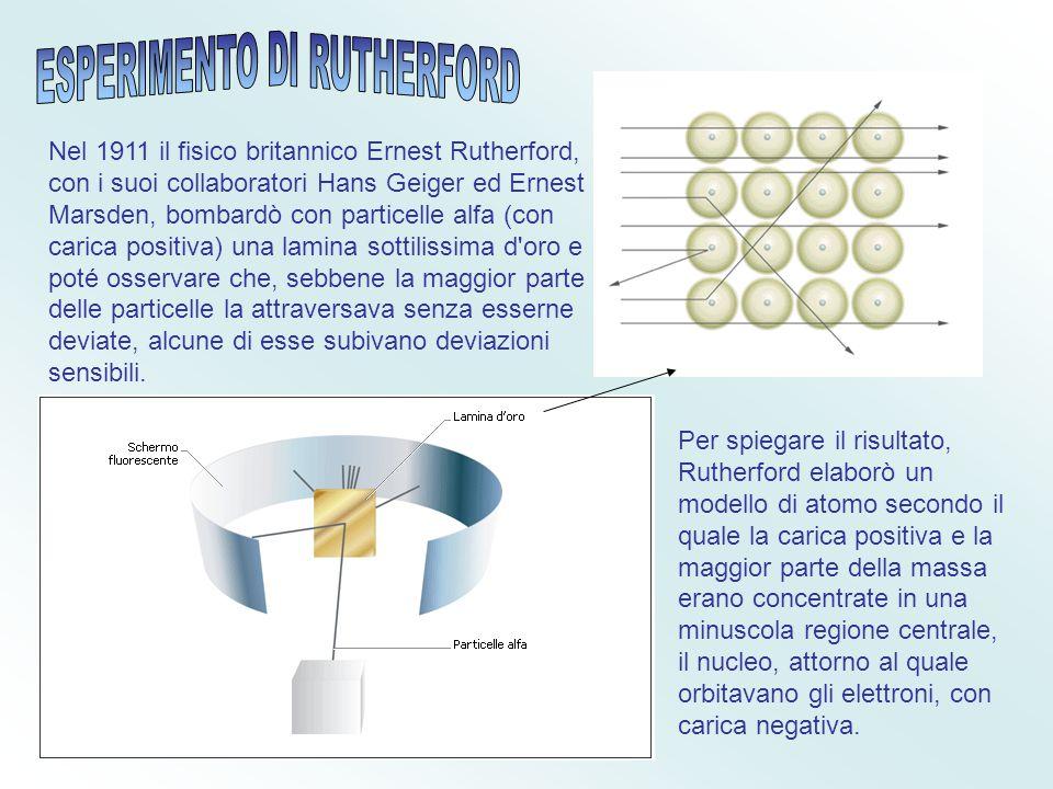 Ernest Rutherford compì esperimenti di diffusione di particelle α su atomi di oro E concluse che in un atomo la carica positiva e quella negativa non