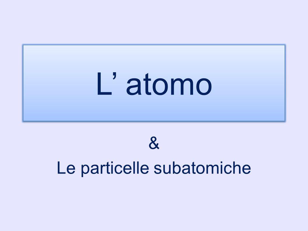 L' atomo & Le particelle subatomiche