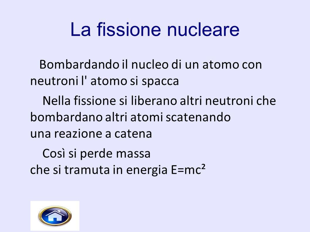 La fissione nucleare Bombardando il nucleo di un atomo con neutroni l' atomo si spacca Nella fissione si liberano altri neutroni che bombardano altri