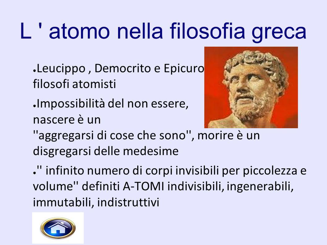 L ' atomo nella filosofia greca ● Leucippo, Democrito e Epicuro, filosofi atomisti ● Impossibilità del non essere, nascere è un ''aggregarsi di cose c