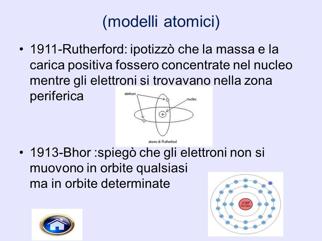 (modelli atomici) 19111911-Rutherford: ipotizzò che la massa e la carica positiva fossero concentrate nel nucleo mentre gli elettroni si trovavano nel
