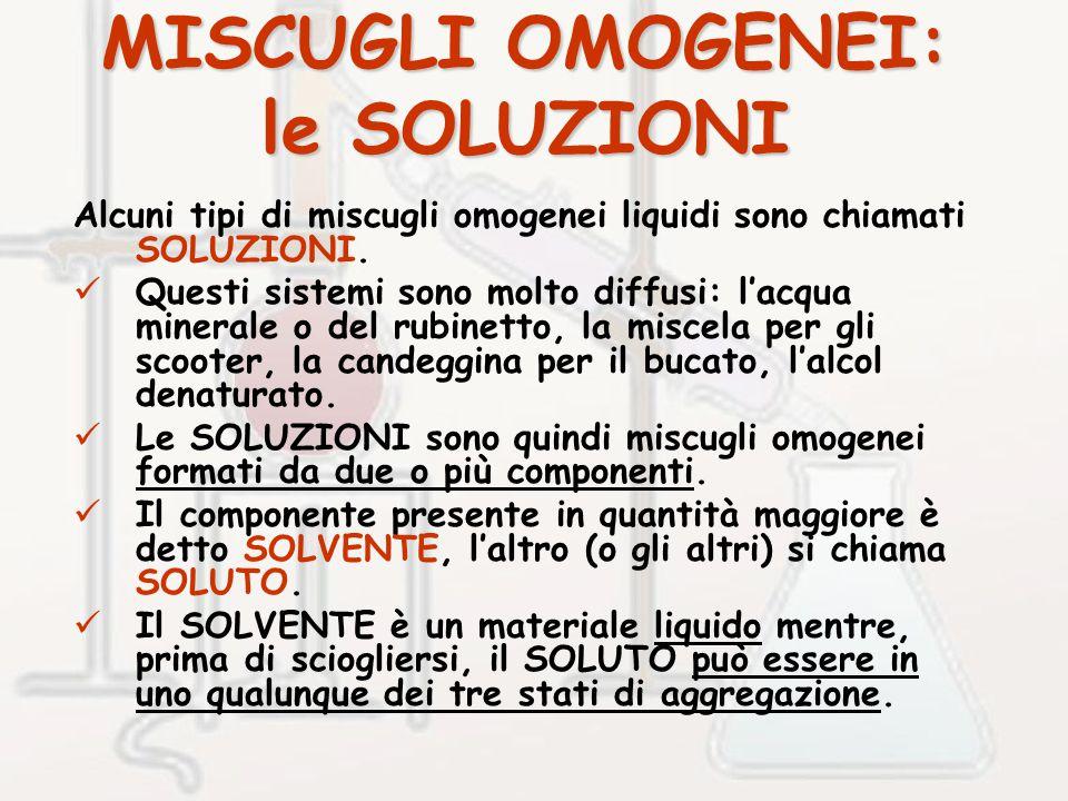 MISCUGLI OMOGENEI: le SOLUZIONI Alcuni tipi di miscugli omogenei liquidi sono chiamati SOLUZIONI.