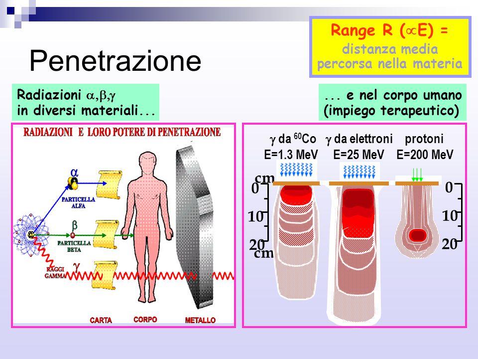 Penetrazione 0 10 20 0 10 20 cm  da 60 Co  da elettroni protoni E=1.3 MeV E=25 MeV E=200 MeV Radiazioni  in diversi materiali...... e nel corpo