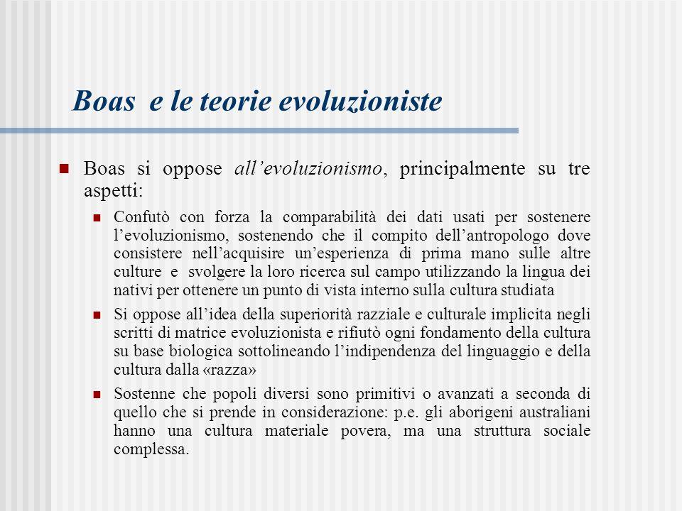 Boas si oppose all'evoluzionismo, principalmente su tre aspetti: Confutò con forza la comparabilità dei dati usati per sostenere l'evoluzionismo, sost