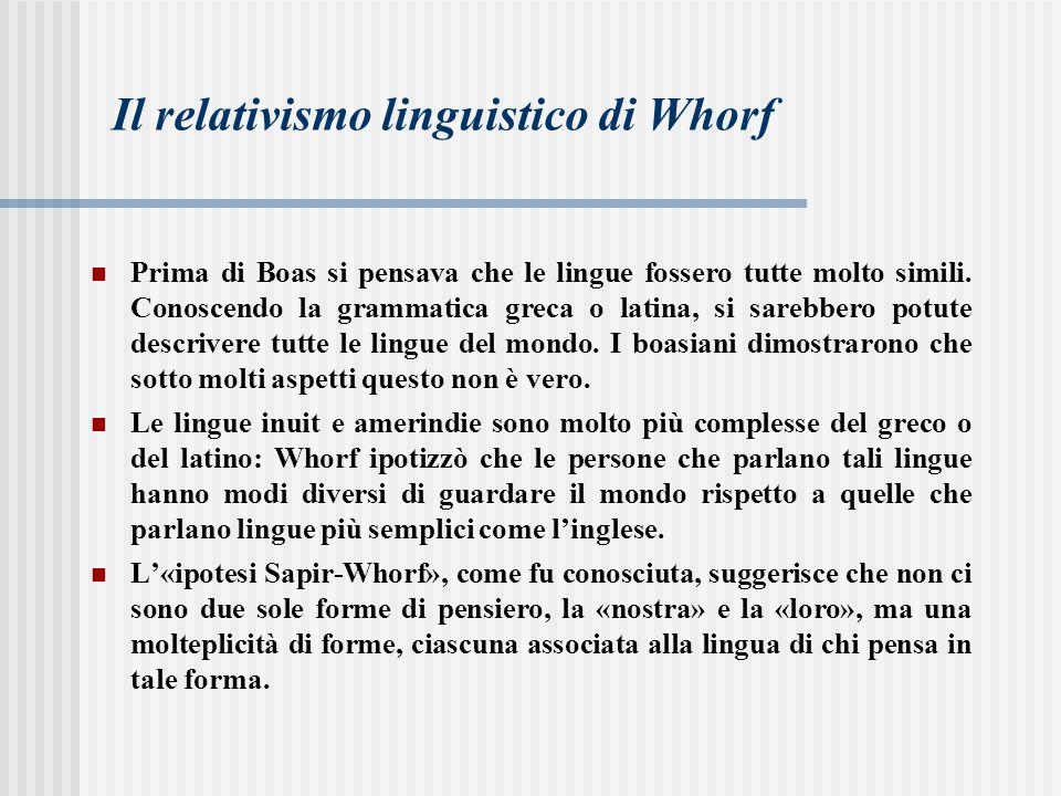 Il relativismo linguistico di Whorf Prima di Boas si pensava che le lingue fossero tutte molto simili. Conoscendo la grammatica greca o latina, si sar