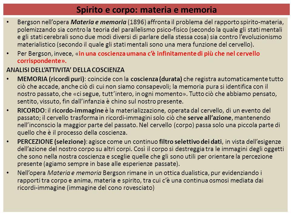 ÉLAN VITALE (SLANCIO VITALE) Nell' Evoluzione creatrice (1907) Bergson espone la sua concezione cosmologica sottolineando l'affinità tra mondo corporeo e mondo spirituale (rifiuto del dualismo cartesiano).