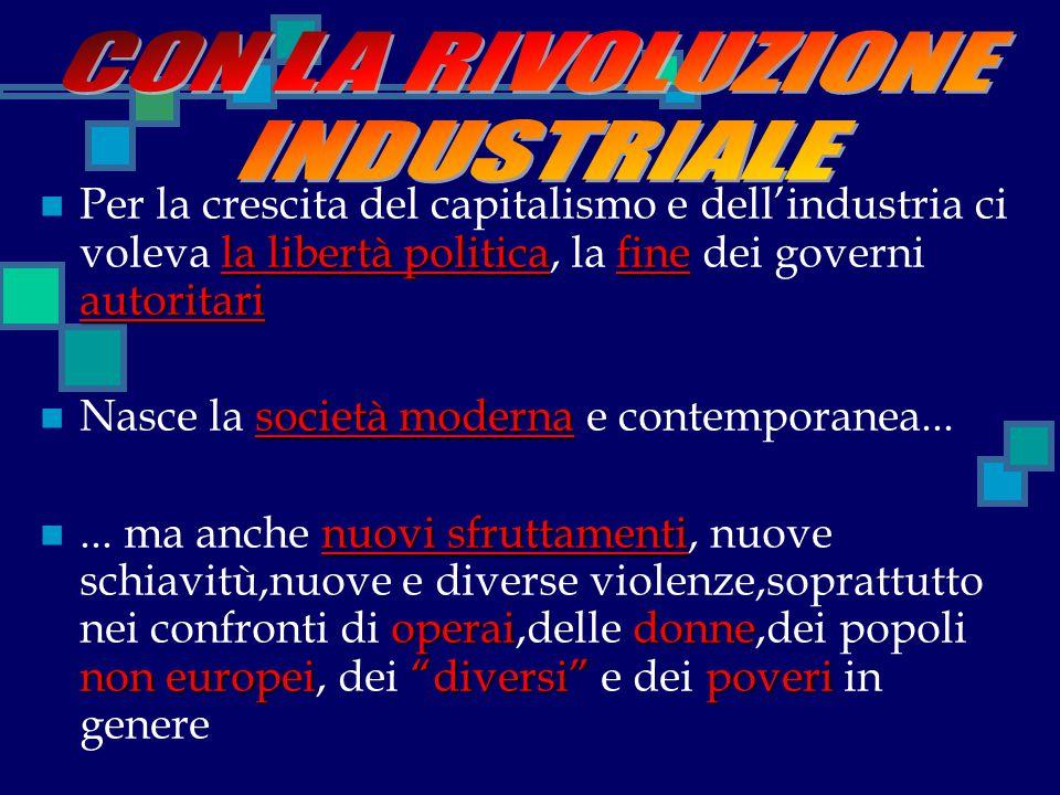 la libertà politicafine autoritari Per la crescita del capitalismo e dell'industria ci voleva la libertà politica, la fine dei governi autoritari soci