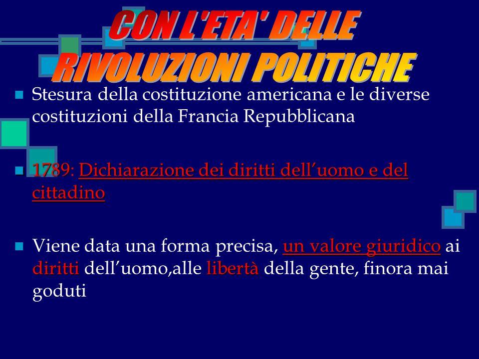 Stesura della costituzione americana e le diverse costituzioni della Francia Repubblicana 1789Dichiarazione dei diritti dell'uomo e del cittadino 1789
