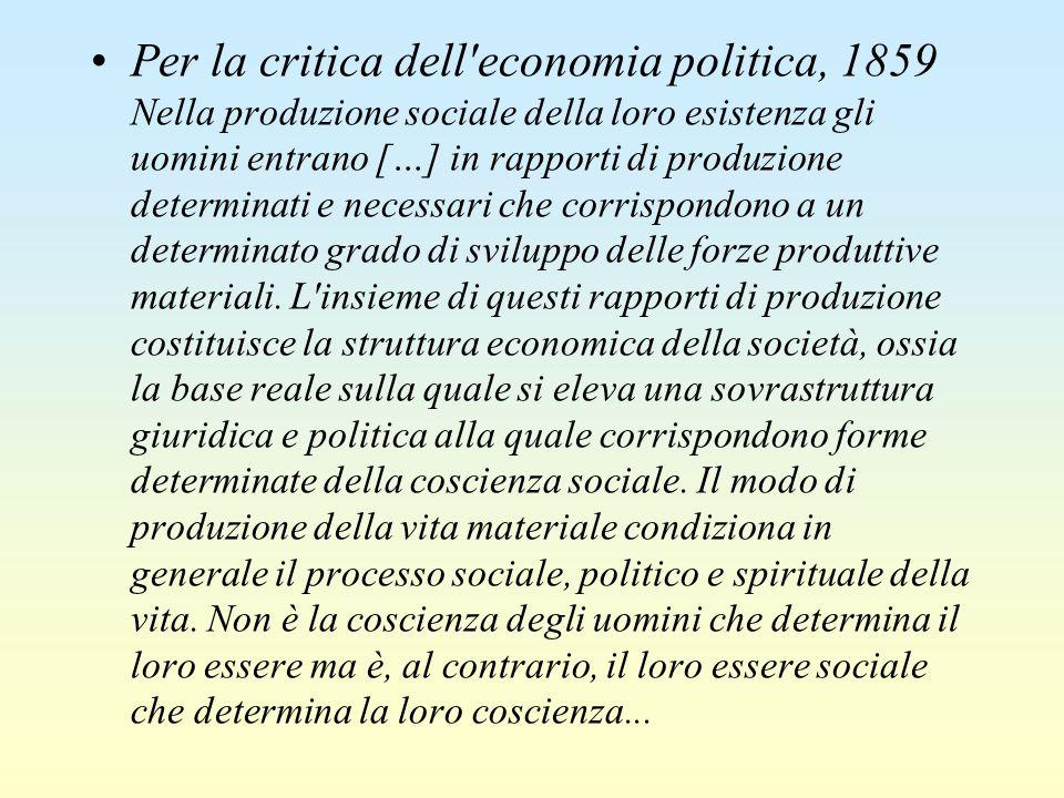 Per la critica dell'economia politica, 1859 Nella produzione sociale della loro esistenza gli uomini entrano […] in rapporti di produzione determinati