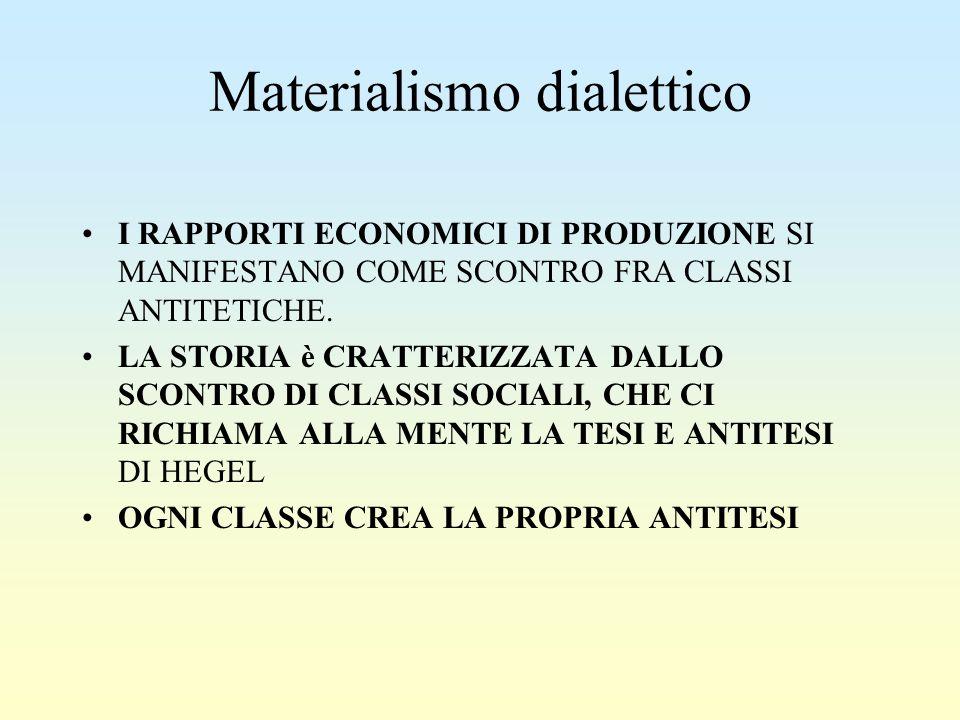 Materialismo dialettico I RAPPORTI ECONOMICI DI PRODUZIONE SI MANIFESTANO COME SCONTRO FRA CLASSI ANTITETICHE. LA STORIA è CRATTERIZZATA DALLO SCONTRO