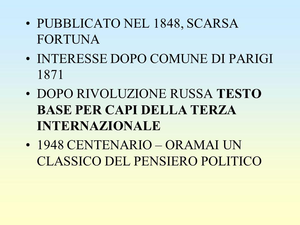 PUBBLICATO NEL 1848, SCARSA FORTUNA INTERESSE DOPO COMUNE DI PARIGI 1871 DOPO RIVOLUZIONE RUSSA TESTO BASE PER CAPI DELLA TERZA INTERNAZIONALE 1948 CE