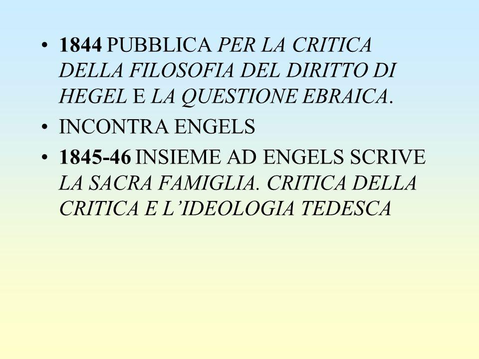 1844 PUBBLICA PER LA CRITICA DELLA FILOSOFIA DEL DIRITTO DI HEGEL E LA QUESTIONE EBRAICA. INCONTRA ENGELS 1845-46 INSIEME AD ENGELS SCRIVE LA SACRA FA