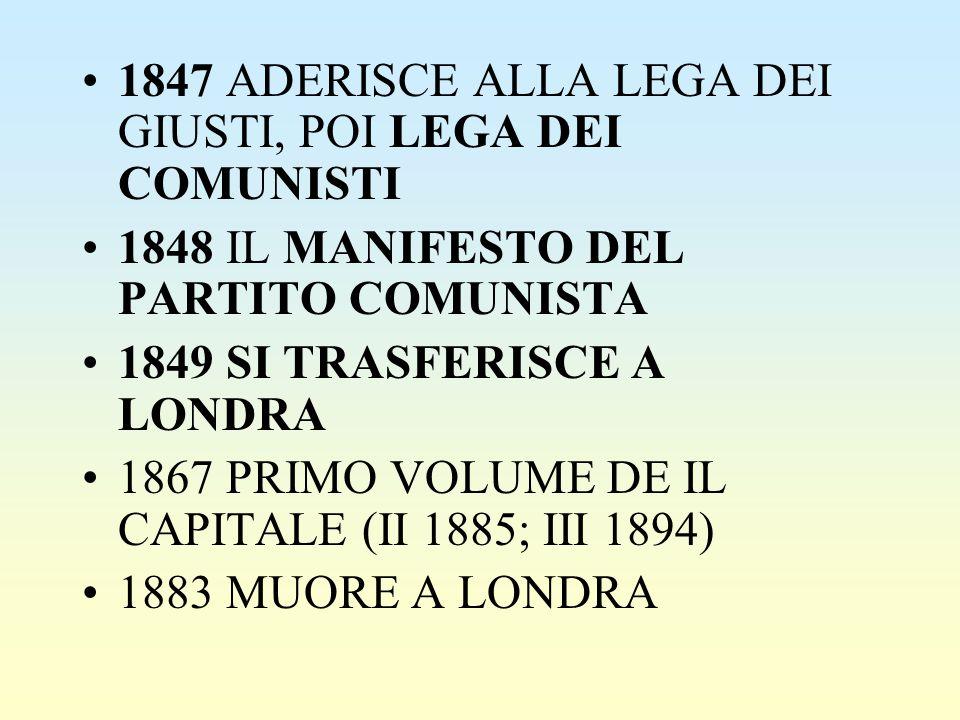 1847 ADERISCE ALLA LEGA DEI GIUSTI, POI LEGA DEI COMUNISTI 1848 IL MANIFESTO DEL PARTITO COMUNISTA 1849 SI TRASFERISCE A LONDRA 1867 PRIMO VOLUME DE I