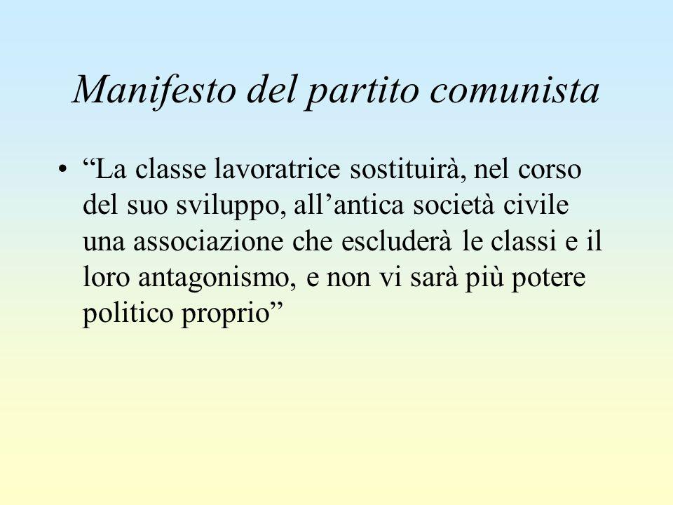 """Manifesto del partito comunista """"La classe lavoratrice sostituirà, nel corso del suo sviluppo, all'antica società civile una associazione che escluder"""