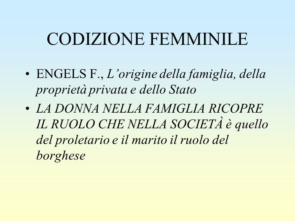 CODIZIONE FEMMINILE ENGELS F., L'origine della famiglia, della proprietà privata e dello Stato LA DONNA NELLA FAMIGLIA RICOPRE IL RUOLO CHE NELLA SOCI