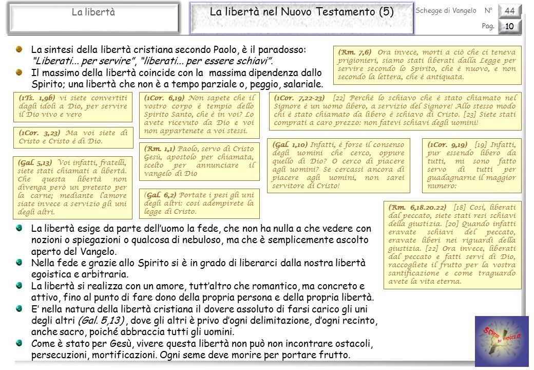 44 La libertà La libertà nel Nuovo Testamento (5) 10 Pag.