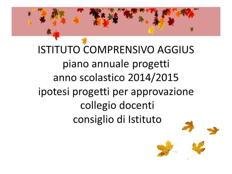 ISTITUTO COMPRENSIVO AGGIUS piano annuale progetti anno scolastico 2014/2015 ipotesi progetti per approvazione collegio docenti consiglio di Istituto