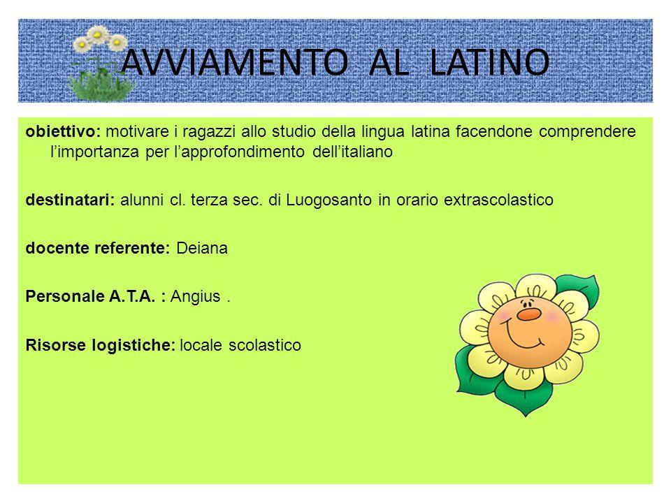 AVVIAMENTO AL LATINO obiettivo: motivare i ragazzi allo studio della lingua latina facendone comprendere l'importanza per l'approfondimento dell'italiano destinatari: alunni cl.