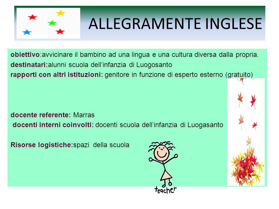 ALLEGRAMENTE INGLESE obiettivo:avvicinare il bambino ad una lingua e una cultura diversa dalla propria.