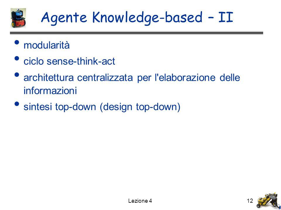 Lezione 412 Agente Knowledge-based – II modularità ciclo sense-think-act architettura centralizzata per l elaborazione delle informazioni sintesi top-down (design top-down)