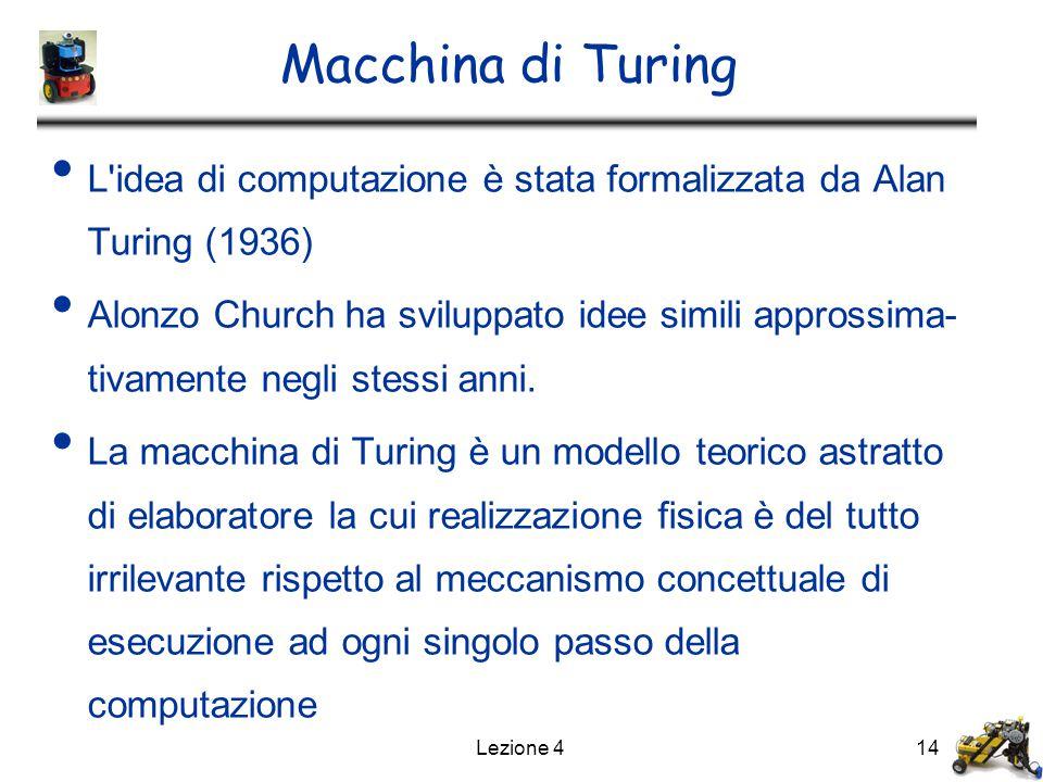 Lezione 414 Macchina di Turing L idea di computazione è stata formalizzata da Alan Turing (1936) Alonzo Church ha sviluppato idee simili approssima- tivamente negli stessi anni.