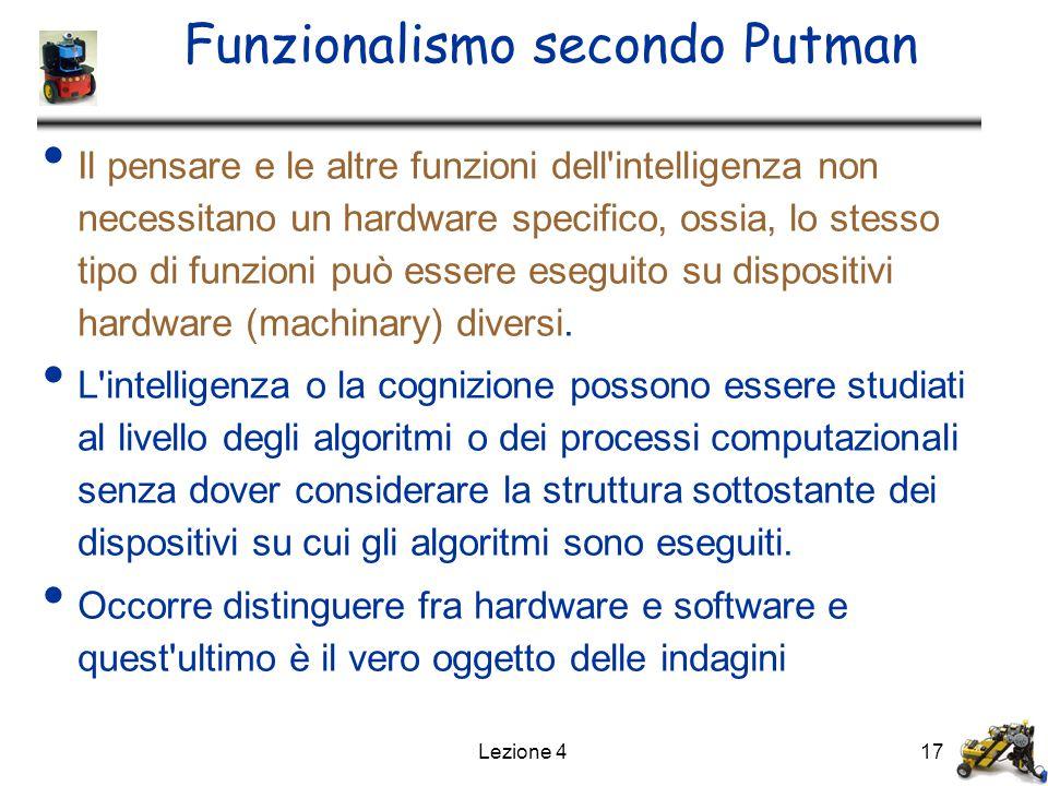 Lezione 417 Funzionalismo secondo Putman Il pensare e le altre funzioni dell intelligenza non necessitano un hardware specifico, ossia, lo stesso tipo di funzioni può essere eseguito su dispositivi hardware (machinary) diversi.