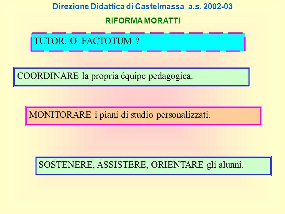 Direzione Didattica di Castelmassa a.s. 2002-03 RIFORMA MORATTI COORDINARE la propria équipe pedagogica. MONITORARE i piani di studio personalizzati.