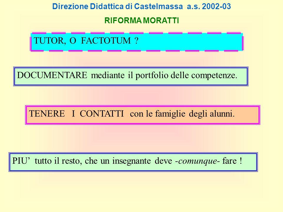 Direzione Didattica di Castelmassa a.s. 2002-03 RIFORMA MORATTI DOCUMENTARE mediante il portfolio delle competenze. TENERE I CONTATTI con le famiglie