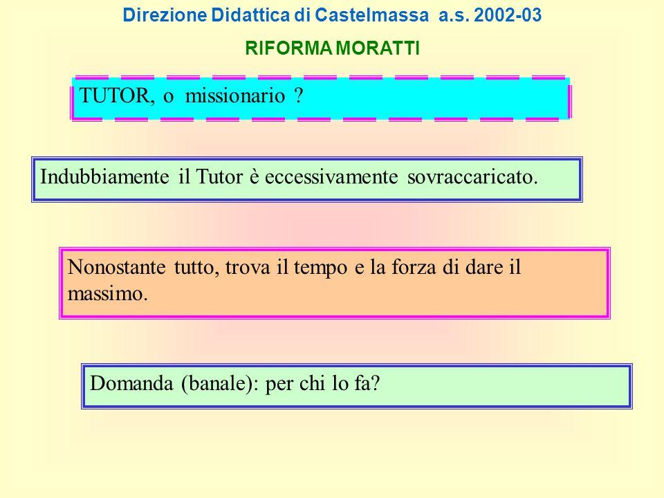 Direzione Didattica di Castelmassa a.s. 2002-03 RIFORMA MORATTI Indubbiamente il Tutor è eccessivamente sovraccaricato. Nonostante tutto, trova il tem