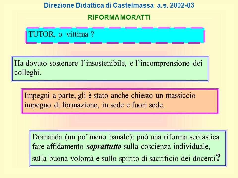 Direzione Didattica di Castelmassa a.s. 2002-03 RIFORMA MORATTI Ha dovuto sostenere l'insostenibile, e l'incomprensione dei colleghi. Impegni a parte,