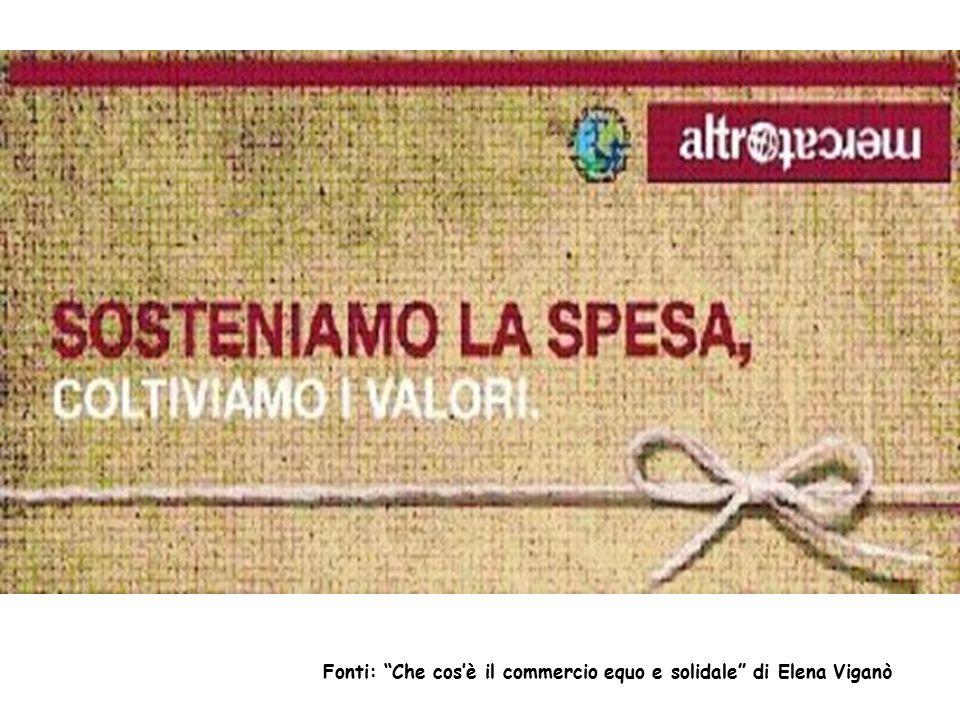"""Fonti: """"Che cos'è il commercio equo e solidale"""" di Elena Viganò"""