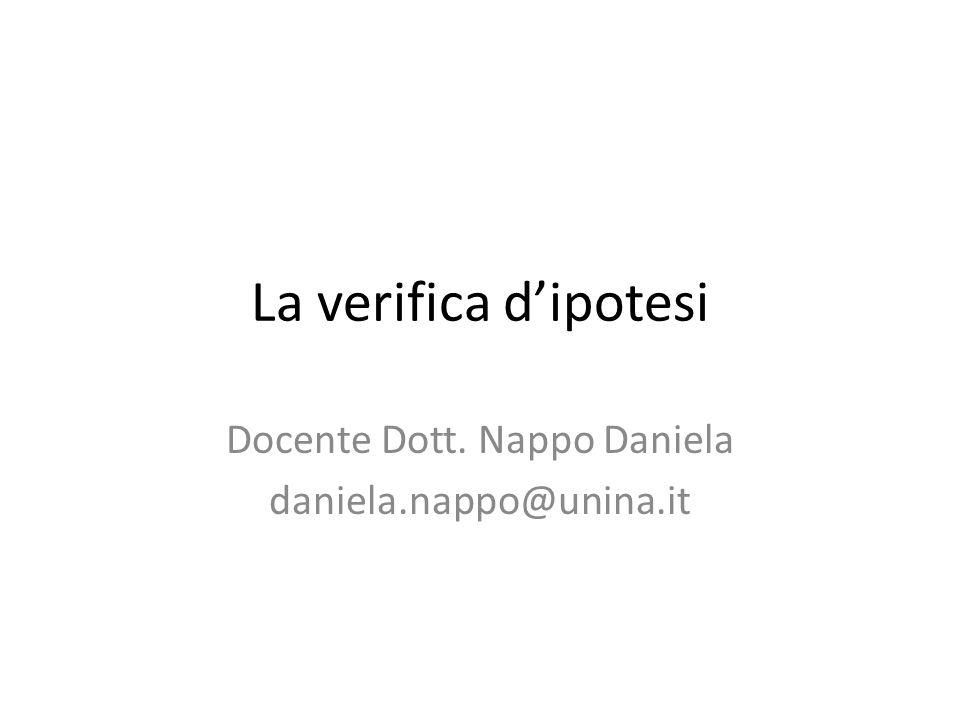 La verifica d'ipotesi Docente Dott. Nappo Daniela daniela.nappo@unina.it