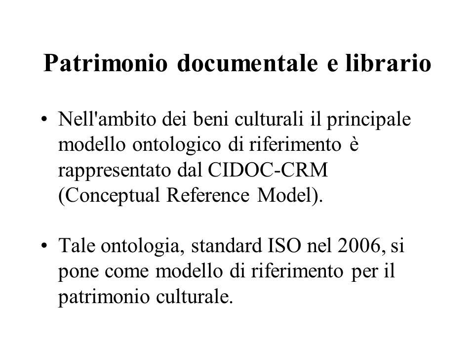 Patrimonio documentale e librario Nell ambito dei beni culturali il principale modello ontologico di riferimento è rappresentato dal CIDOC-CRM (Conceptual Reference Model).
